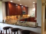 Vista Waikoloa Kitchen, Rainforest Granite, Mahogany Cabinets