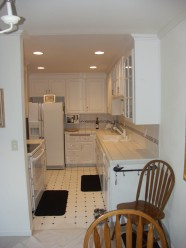 Galley Kitchen, Old Dark Brown Cabinets And Harvest Gold Formica To