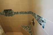Alii Heights New Master Shower With Glass Inlay Tiles And Corner Benches